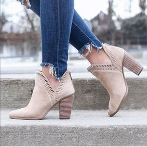 VINCE CAMUTO Taupe Suede Fileana Booties Cutout